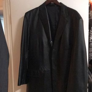 Alfani 3 button men's leather blazer